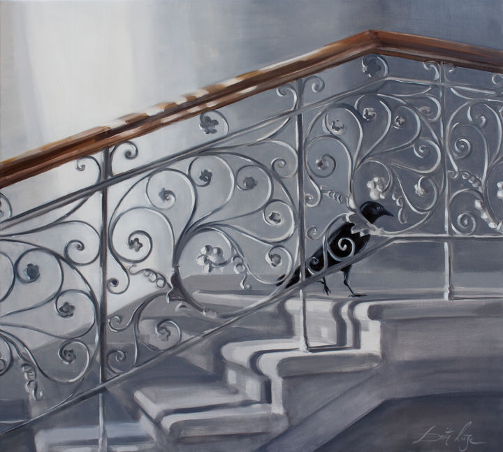 Guest - © 2019 Crow, stairs, light, lacework, visitor Online Artworks