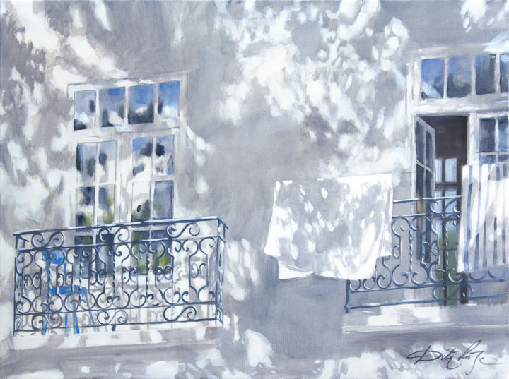 Fresh linen - Painting,  23.6x31.5x0.8 in, ©2019 by Dita Luse -                                                                                                                                                                                                                                                                                                                                                                                                                                                                                                                                              Figurative, figurative-594, Architecture, Light, Dita Luse, light, shadow, windows, lacework, art, painting