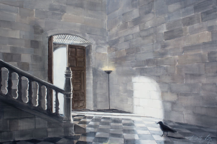 Palazzo - Painting,  31.5x47.2x0.8 in, ©2019 by Dita Luse -                                                                                                                                                                                                                                                                                                                                                                                                                                                                                                                                                                                                                                      Figurative, figurative-594, Animals, Architecture, Interiors, Light, crow, light, palace, shadow, interior, stairway, Dita Luse