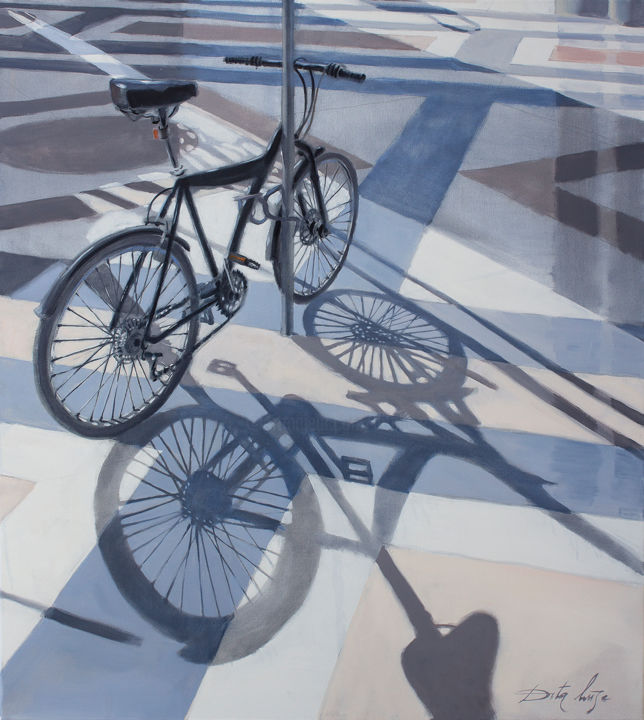 City - Painting,  39.4x35.4x0.8 in, ©2019 by Dita Luse -                                                                                                                                                                                                                                                                                                                                                                                                                                                                                                                                                                                                                                                                                                                                                                          Figurative, figurative-594, Architecture, Bike, Cityscape, Light, Outer Space, bicycle, city, shadow, light, Dita Luse, painting, oil painting, contemporary painting, realism