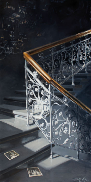 """Painting titled """"Story of the stairs"""" by Dita Luse, Original Art, Oil Mounted on Stretcher frame"""