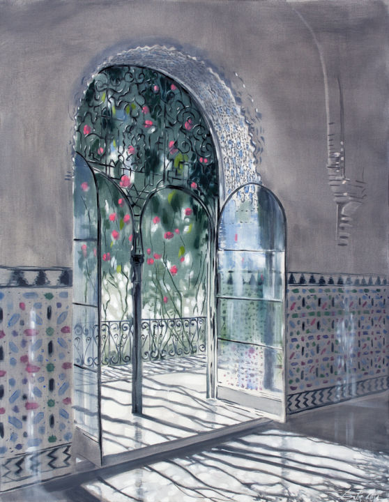 Invitation to the Garden - Painting,  35.4x27.6x0.8 in, ©2020 by Dita Luse -                                                                                                                                                                                                                                                                                                                                                                                                                                                                                                                                                                                                                                                                                                                                                                          Impressionism, impressionism-603, Architecture, Flower, Interiors, Light, Nature, Garden, roses, door, gate, tiles, interior, Dita Luse, Oil painting, romantic art