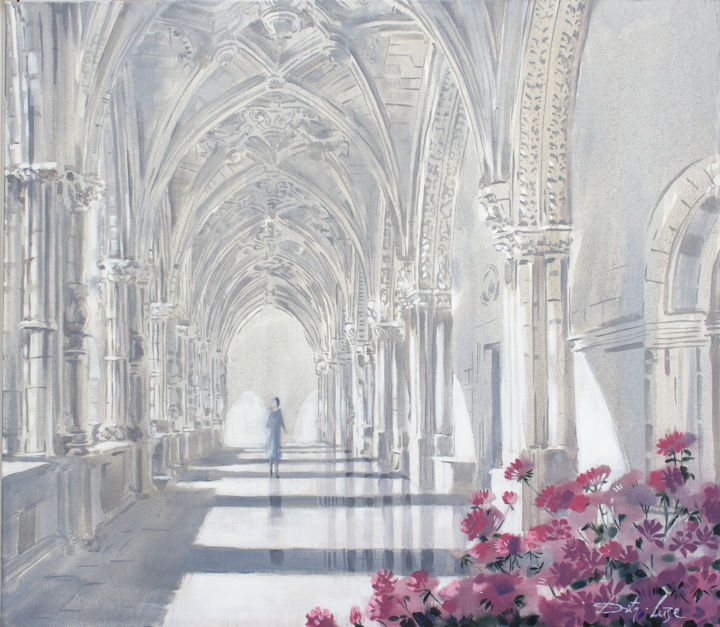 Cloister scent - Painting,  27.6x31.5x0.8 in, ©2020 by Dita Luse -                                                                                                                                                                                                                                                                                                                                                                                                                                                                                                                                                                                                                                      Impressionism, impressionism-603, Agriculture, Flower, History, Light, Cloister, light, flowers, calm, quiet, echo, fragrance