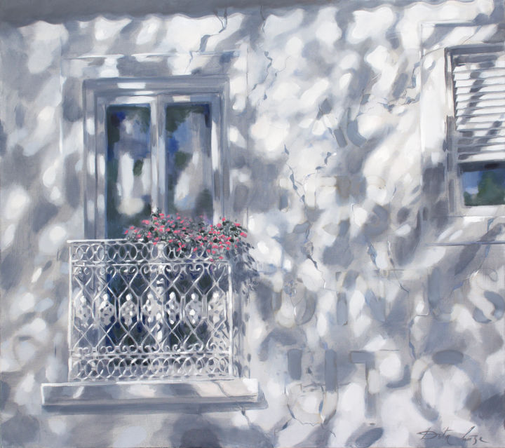French balcony - Painting,  31.5x35.4x0.8 in, ©2020 by Dita Luse -                                                                                                                                                                                                                                                                                                                                                                                                                                                                                                                                                                                                                                                                                                                                                                                                                      Impressionism, impressionism-603, Architecture, Black and White, Culture, Light, Love / Romance, balcony, light, window, shadow, flowers, blinds, Dita Luse, painting, art, magical realism