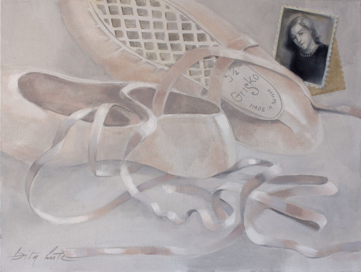 Pointe shoes II - Painting,  23.6x31.5x0.8 in, ©2020 by Dita Luse -                                                                                                                                                                                                                                                                                                                                                                                                                                                                                                  Figurative, figurative-594, History, Light, Love / Romance, Music, Performing Arts, ballet, pointe shoes, memories