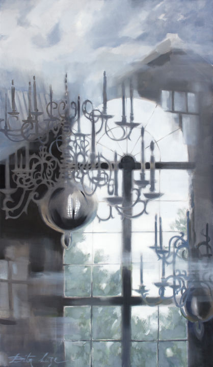 Depth of reflections - Painting,  47.2x27.6x0.8 in, ©2020 by Dita Luse -                                                                                                                                                                                                                                                                                                                                                                                                                                                                                                                                                                                                                                      Figurative, figurative-594, Architecture, Culture, History, Interiors, Time, window, candelabra, reflections, clouds, memories, lights