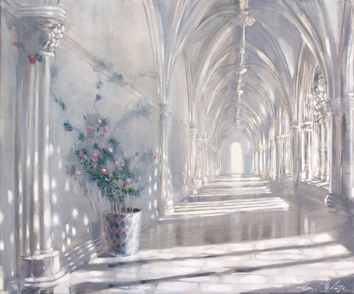 Cloister time - Painting,  19.7x23.6x0.8 in, ©2020 by Dita Luse -                                                                                                                                                                                                                                                                                                                                                                                                                                                                                                                                                                                          Figurative, figurative-594, Architecture, Light, light, cloister, medieval, painting, oilpainting, art, Dita Lūse, contemporary art