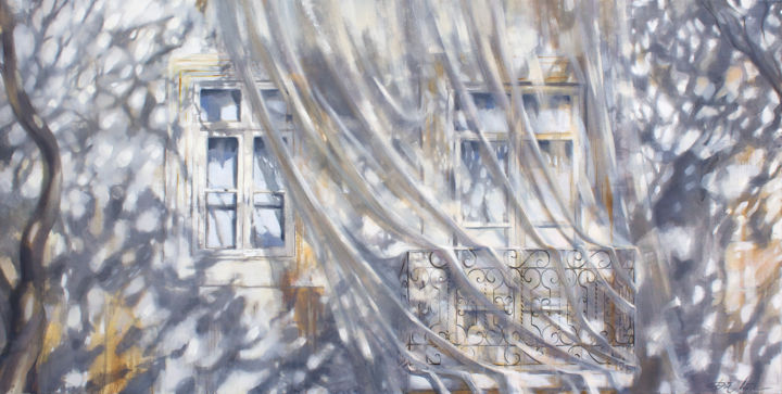 Under the trees - Painting,  31.5x63x0.8 in, ©2020 by Dita Luse -                                                                                                                                                                                                                                                                                                                                                                                                                                                                                                                                                                                                                                                                                                                                                                                                                                                                                                                                                          Impressionism, impressionism-603, Architecture, Cities, Cityscape, Light, Tree, Dita Lūse, painting, oilpainting, contemporary painting, facade, shadows, lights, net, balcony, white, grey, ochre, windows