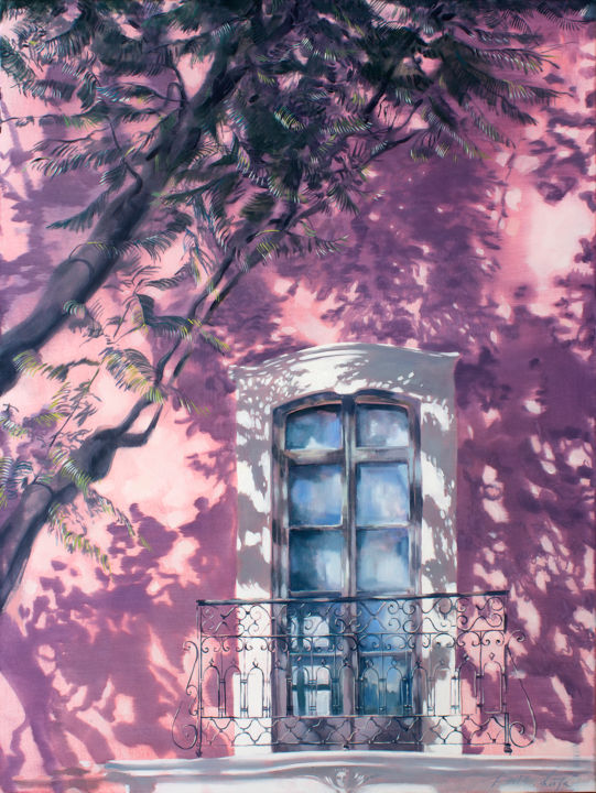 Acacia in the yard - Painting,  47.2x35.4x0.8 in, ©2020 by Dita Luse -                                                                                                                                                                                                                                                                                                                                                                                                                                                                                                                                                                                                                                                                                                                                                                                                                                                                  Impressionism, impressionism-603, Architecture, Light, Time, Wall, Dita Lūse, light, shadow, pink, white, window, balcony, quiet, calm, sunlight, oilpainting, contemporary painting