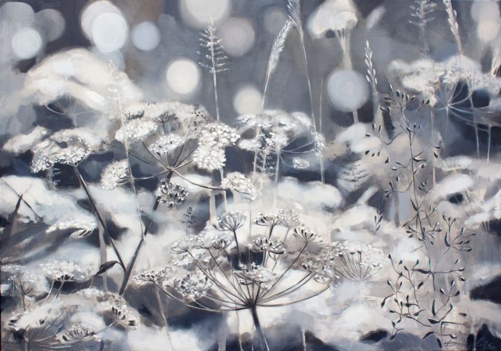 Lights of a meadow - Painting,  27.6x39.4x0.8 in, ©2020 by Dita Luse -                                                                                                                                                                                                                                                                                                                                                                                                                                                                                                                                                                                                                                                                                                                              Impressionism, impressionism-603, Botanic, Flower, Garden, Landscape, Light, chervil, lights, meadow, sounds, shimmer, grey, white, ground elder