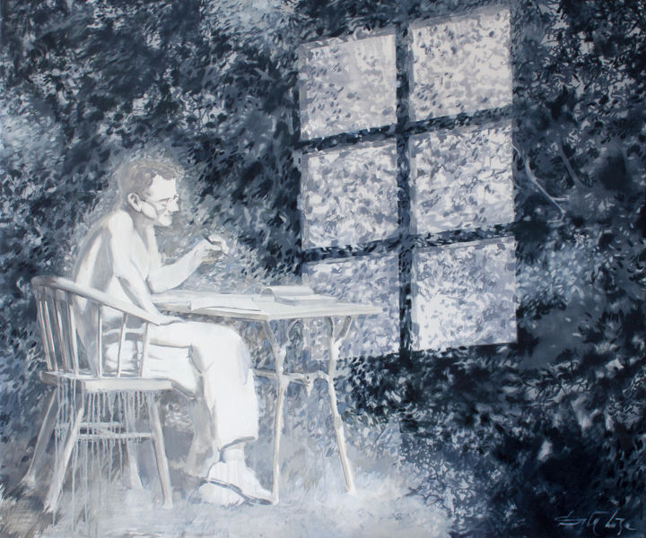 The Window of Memories - Painting,  39.4x47.2x0.8 in, ©2020 by Dita Luse -                                                                                                                                                                                                                                                                                                                                                                                                                                                                                                                                                                                                                                                                                                                              Figurative, figurative-594, Family, Garden, History, Light, Dita Lūse, painting, art, oilpainting, memories, grandfather, writer, garden, foliage