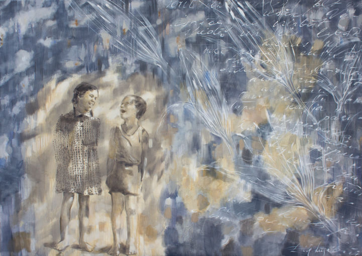 Childhood friends - Painting,  47.2x66.9x0.8 in, ©2020 by Dita Luse -                                                                                                                                                                                                                                                                                                                                                                                                                                                                                                                                                                                                                                                                                                                                                                                                                                                                  Figurative, figurative-594, Children, Culture, Family, History, Light, Dita Luse, painting, oilpainting, contemporary painting, letters, happiness, 1950s, memories, inherited memories, friendship, children