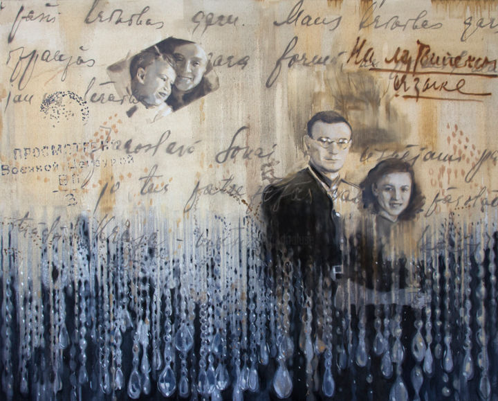 Letters - Painting,  47.2x59.1x0.8 in, ©2020 by Dita Luse -                                                                                                                                                                                                                                                                                                                                                                                                                                                                                                                                                                                                                                                                                                                                                                                                                                                                                                              Figurative, figurative-594, History, Love / Romance, People, Time, Dita Lūse, art, painting, oilpainting, contemporary painting, letters, memories, family, relationships, inherited memories, love story, separation, war