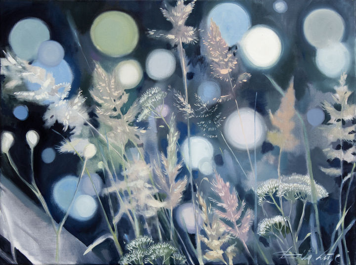 Sounds of the meadow - Painting,  23.6x31.5x1.2 in, ©2019 by Dita Luse -                                                                                                                                                                                                                                                                                                                                                                                                                                                      Figurative, figurative-594, Light, Nature, meadow, light, floral, wind, sound