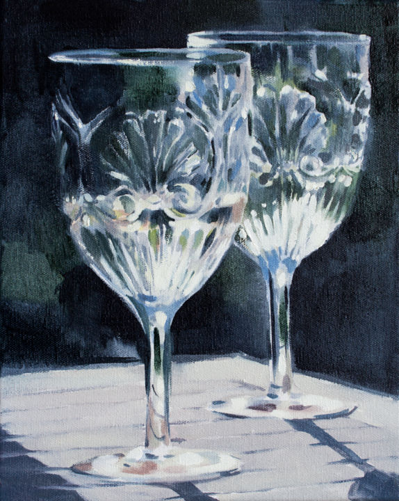 A Glass of light - Painting,  11.8x9.5x0.8 in, ©2020 by Dita Luse -                                                                                                                                                                                                                                                                                                                                                                                                                                                                                                                                                                                                                                                                                                                              Figurative, figurative-594, Food & Drink, Garden, Home, Light, DitaLūse, painting, oilpainting, glass, wine, light, celebration, summer, happy moments