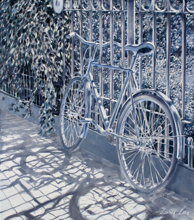 A Moment of Bright Light - Painting,  31.5x27.6x0.8 in, ©2020 by Dita Luse -                                                                                                                                                                                                                                                                                                                                                                                                                                                                                                                                                                                                                                                                                                                              Impressionism, impressionism-603, Bike, Botanic, Garden, Light, Bicycle, Foliage, light, shadow, garden, moment, stop, painting, oilpainting