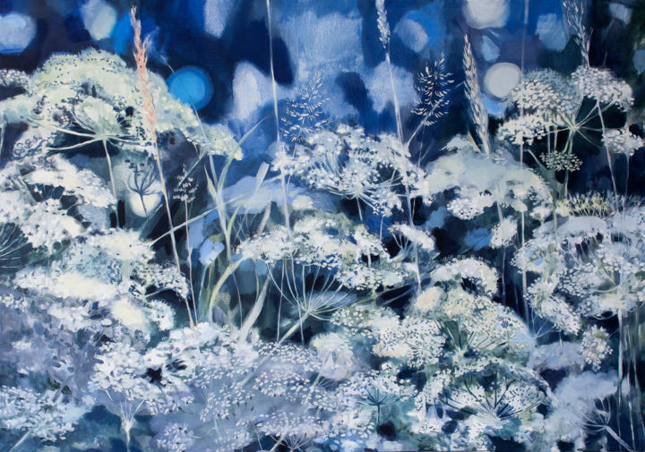 White Meadow - Painting,  27.6x39.4x0.8 in, ©2020 by Dita Luse -                                                                                                                                                                                                                                                                                                                                                                                                                                                                                                                                                                                                                                                                              Impressionism, impressionism-603, Dita Lūse, painting, oilpainting, contemporary painting, art, meadow, white, chervil, ground elder, bentgrass, lights, fragrance