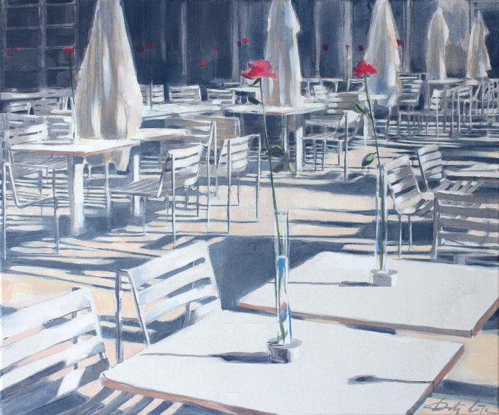 Parisian Cafe - Painting,  19.7x23.6x0.8 in, ©2021 by Dita Luse -                                                                                                                                                                                                                                                                                                                                                                                                                                                  Impressionism, impressionism-603, Cafe, Romantic, quiet, light, roses, scent, siesta