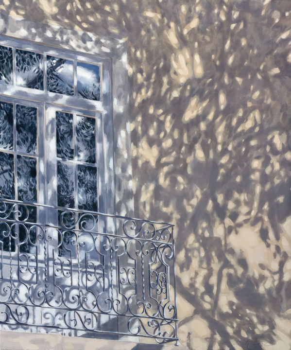 Lace of shadows - Painting,  47.2x39.4x0.8 in, ©2021 by Dita Luse -                                                                                                                                                                                                                                                                                                                                                                                                                                                                                                                                                                                      Figurative, figurative-594, Light, shadow, balcony, reflection, tree, town, passer-by, calm, vibration, lace