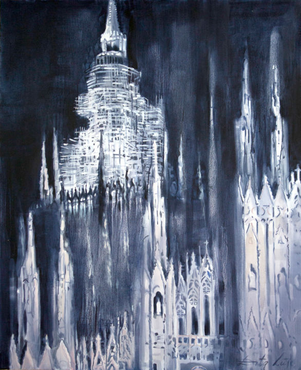 Towers - Painting,  110x90 cm ©2013 by Dita Luse -            Milan cathedral in restauration