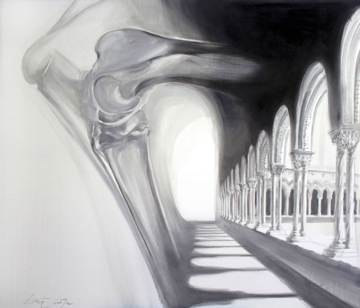 Pillars - Painting,  47.2x55.1 in, ©2013 by Dita Luse -
