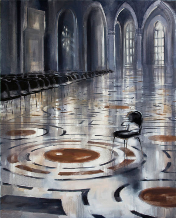 Black chairs - Painting,  2x80x100 cm ©2014 by Dita Luse -                            Architecture, Church, floor, patterns, chairs