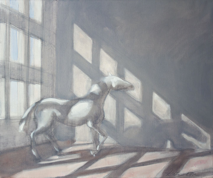 White horse - Painting,  2x50x60 cm ©2014 by Dita Luse -                                                                                    Realism, Canvas, Architecture, Horses, Light, light, horse