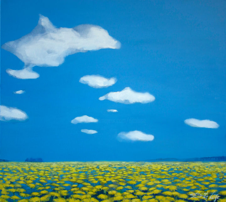 Dandelions I - Painting,  2x90x80 cm ©2014 by Dita Luse -                                                            Realism, Canvas, Landscape, daffodils
