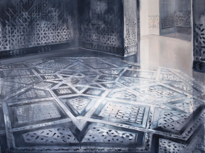 Floor pattern - Painting,  2x90x67 cm ©2015 by Dita Luse -                                                                    Contemporary painting, Canvas, Architecture, Interiors