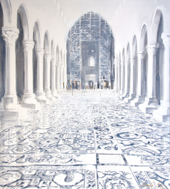 Heritage - Painting,  2x80x100 cm ©2015 by Dita Luse -                                                                        Realism, Canvas, Architecture, Interiors, mosaic, floor, light, basilica