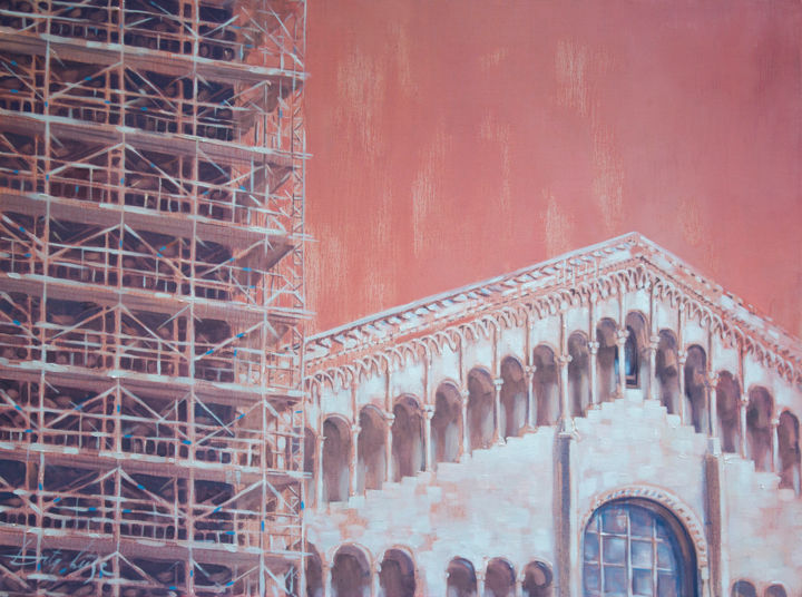 Architecture in pink - Painting,  3x100x75 cm ©2015 by Dita Luse -                                                            Realism, Canvas, Architecture, pink light, architecture, restoration