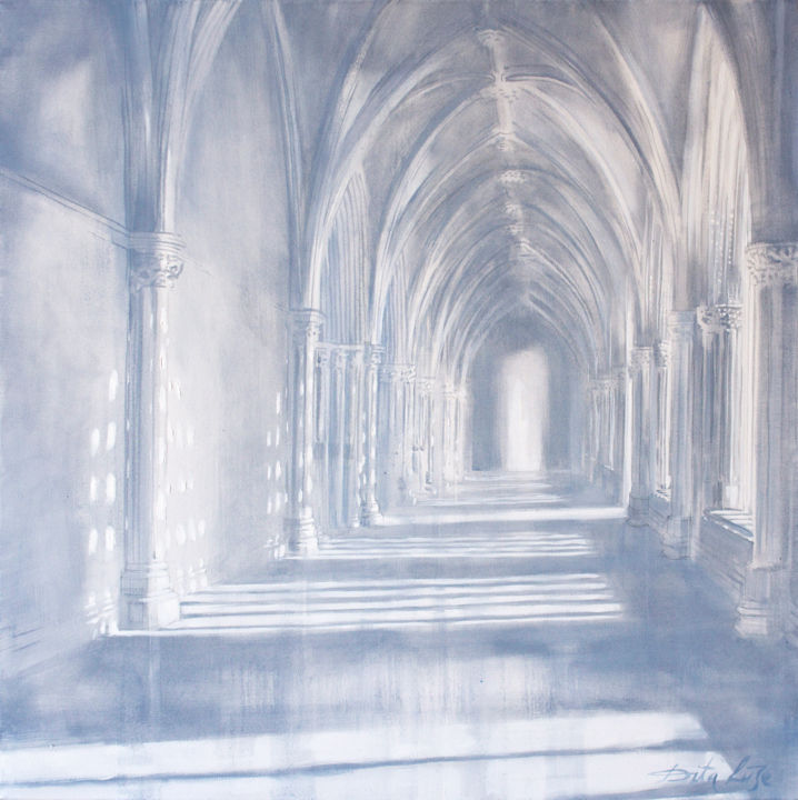 """Painting titled """"White cloister"""" by Dita Luse, Original Art, Oil Mounted on artwork_cat."""