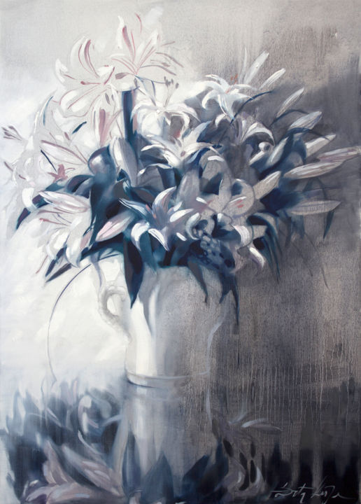White scent - Painting,  41.3x29.5x0.8 in, ©2016 by Dita Luse -                                                                                                                                                                                                                                                                                                                                                              Figurative, figurative-594, Black and White, Flower, lilies, scent, light