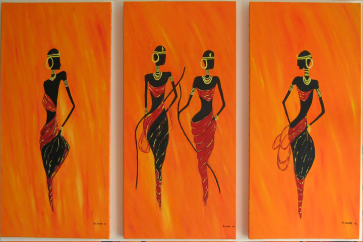 maîsai - Painting,  80x40 cm ©2005 by D Laure -                                                            Figurative Art, Canvas, Portraits, afrique maîsai femmes