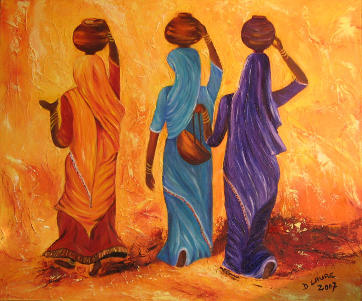 femmes en sari - Painting,  65x54 cm ©2010 by D Laure -                                                            Contemporary painting, Canvas, World Culture, femmes sari inde eau