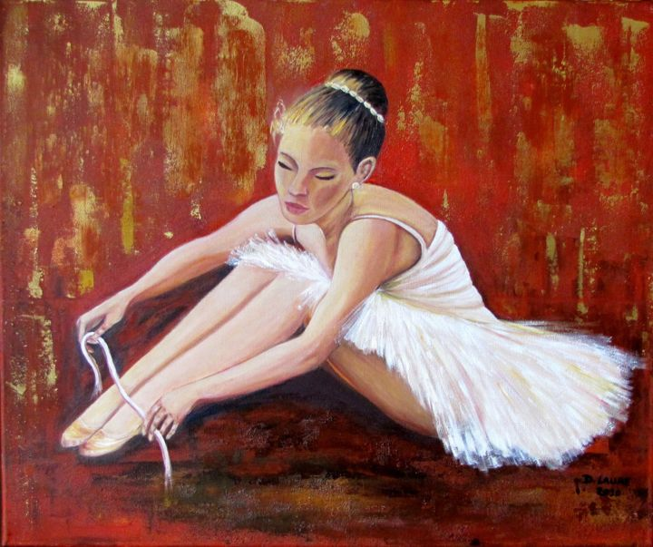 la ballerine - Painting,  65x54 cm ©2012 by D Laure -                                                            Figurative Art, Canvas, Women, danse classique tutu