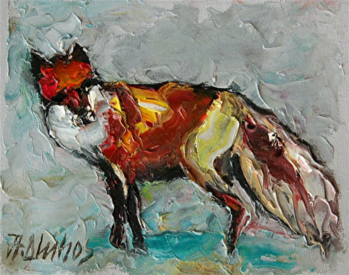 """Painting titled """"""""The Sly One"""" fox b…"""" by Andre, Yary, & Peter Dluhos, Original Art, Oil"""