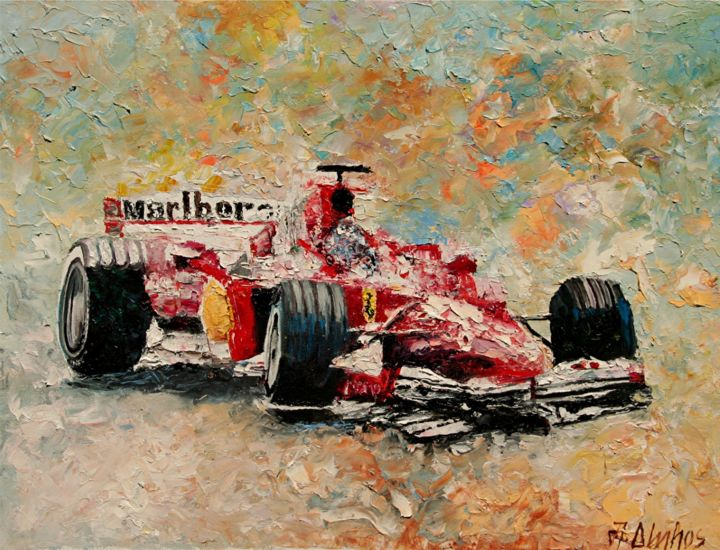 """Painting titled """"""""Wheel Lift"""" by AND…"""" by Andre, Yary, & Peter Dluhos, Original Art, Oil"""