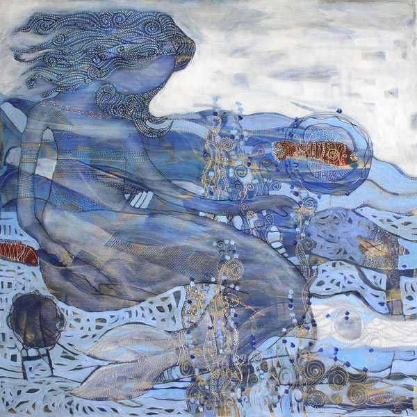 """Painting titled """"Water"""" by Davood Mantegh, Original Art,"""