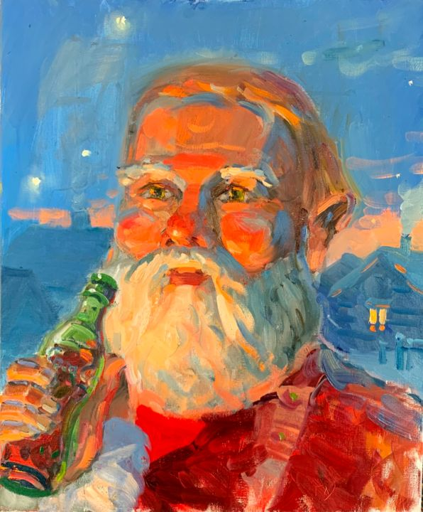Socrates tastes Coca-cola for the first time - Живописец,  23,6x19,7x0,8 in, ©2020 - Dmitry Glushko -                                                                                                                                                                                                                                                                                                                                                                                                                                                                                                                                                                                                                                                                                                                                                                                                                                                                                                                                                                                                                                                                                              Expressionism, expressionism-591, artwork_cat.Classical mythology, Культура, artwork_cat.Fairytales, Семья, фантастический, santa, christmas, new year, coca-cola, snow, winter, socrates, holidays, magic, humor, miracle, gift, village, present, happy new year, merry christmas