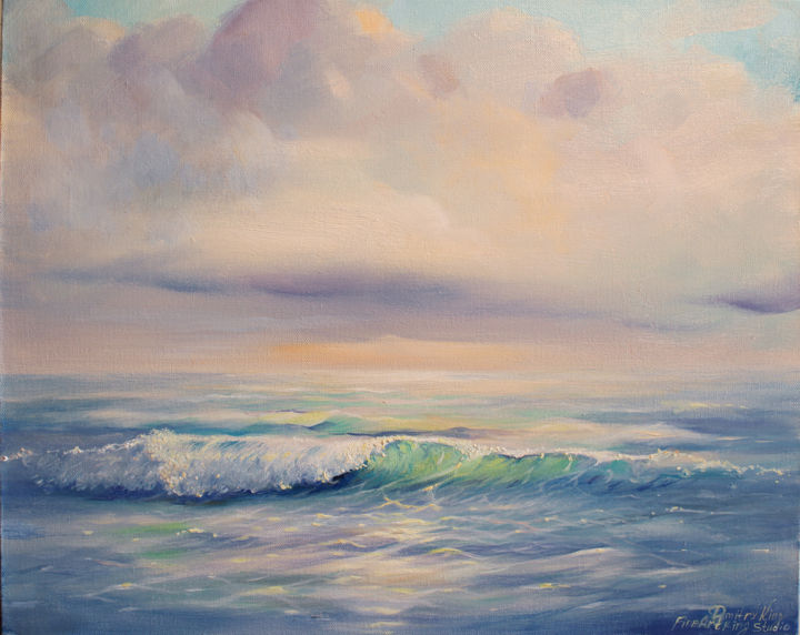 """""""Breath of the ocean"""" - Painting,  16x20x0.8 in ©2018 by Dmitry King -                                                                                    Land Art, Realism, Canvas, Landscape, Seascape, sea landscape, sea scene view, seascape abstract, harbour water sky, realistic seascape, sea ocean painting, blue ocean wave, modern art, ocean art, abstract art, wall art, contemporary art, painting original"""