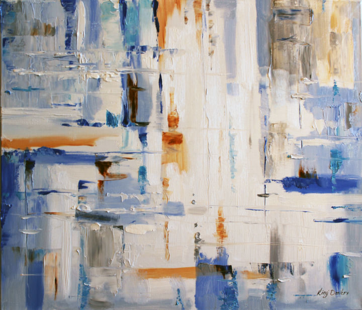 Blue and white - Painting,  20x24x0.8 in ©2018 by Dmitry King -                                            Abstract Art, Canvas, modern art, abstract art, contemporary art, abstract painting, large original art, blue white, modern wall art, abstraction, ready to hang, modern abstract, texture brushstroke, large abstract art, oil painting origin