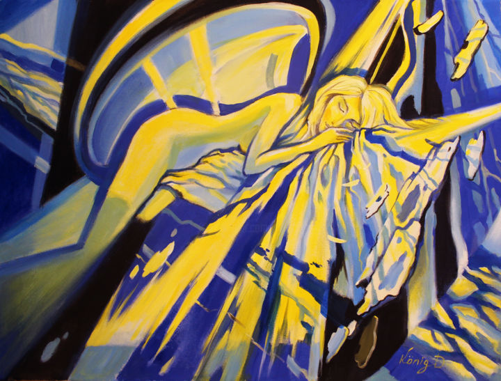 Sleeping angel - Painting,  23.6x31.5x0.8 in, ©2018 by Dmitry King -                                                                                                                                                                                                                                                                                                                                                                                                                                                                                                                                                                                                                                                                                                                              Abstract, abstract-570, Angels, Fantasy, Geometric, Mountainscape, Women, woman painting, abstract woman art, abstract nude woman, female, abstract art, surreal art, fantasy, sleeping beauty