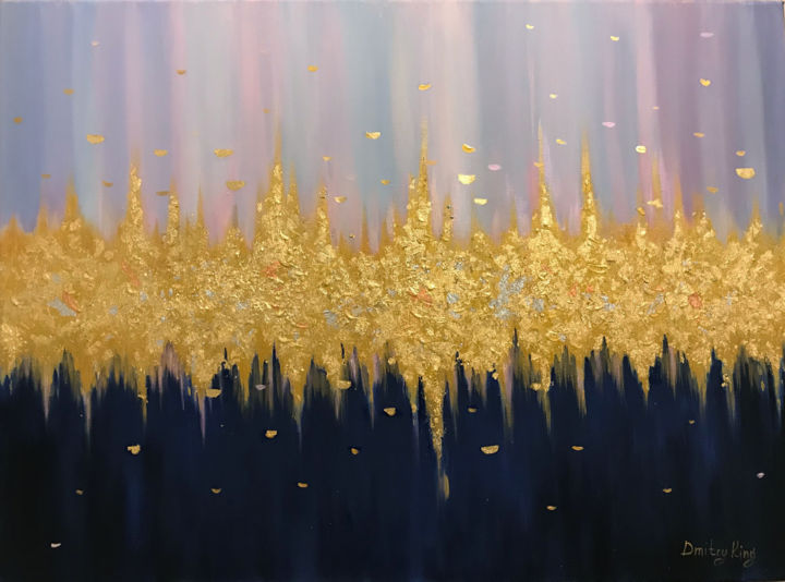 """Painting titled """"Golden Glow"""" by Dmitry King, Original Art, Acrylic"""