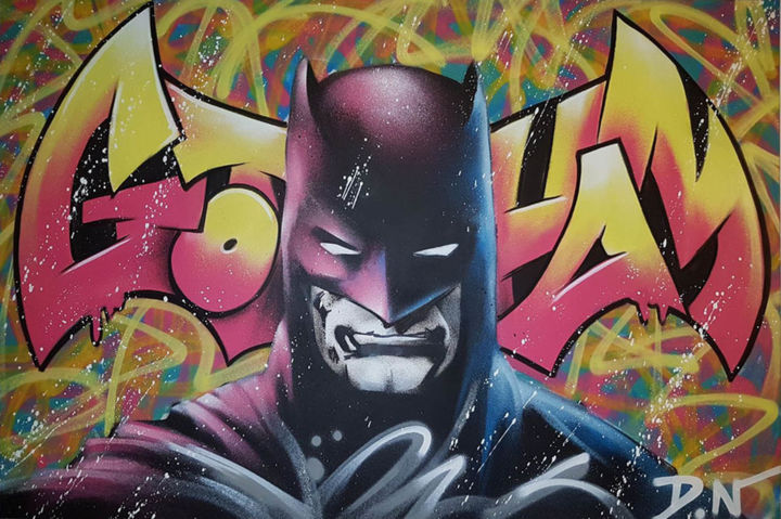 Gotham - Painting,  31.5x47.2x1.2 in, ©2018 by DN -                                                                                                                                                                                                                                                                                                                                                          Street Art, street-art-624, Comics, Cinema, Cartoon, Fantasy, Graffiti