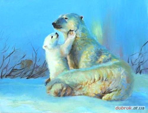 Painting,  40 x 50 cm ©2010 by Dobrok -  Painting, White bear with cub