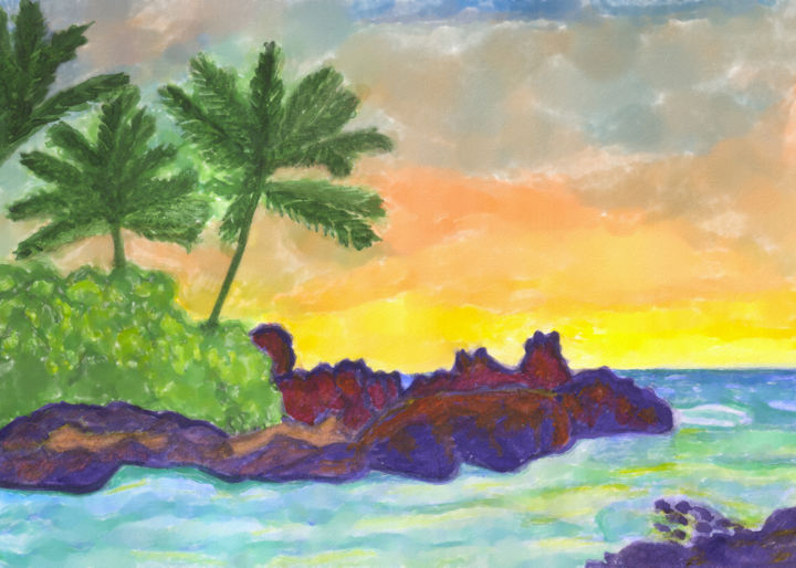 Sunny sunset on a desert tropical island - Painting ©2019 by Dobrotsvet Art -                                                                                            Contemporary painting, Impressionism, Beach, Landscape, Nature, Water, beautiful, tourism, yellow, vacation, sunlight, sunset, desert, holiday, tree, color, ocean, water, palm, exotic, green, blue, paradise, bright, illustration, sunrise, landscape, sun, summer, tropical, sky, design, beach, nature, wild, sunny, watercolor, sunshine, orange, travel, art, sea, palm trees, clouds, stones, bay, seashore, seascape, azure, purple, mysterious
