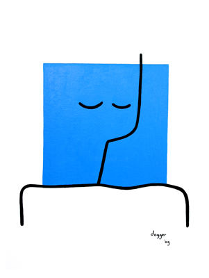 Dream On - Painting,  31.5x23.6 in, ©2009 by Dogger -                                                                                                                                                                          Abstract, abstract-570, Dream On dogger man sleeping on pillow