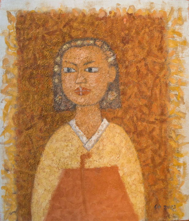 """Painting titled """"girl statue"""" by Dojung Jo, Original Art, Pigments"""