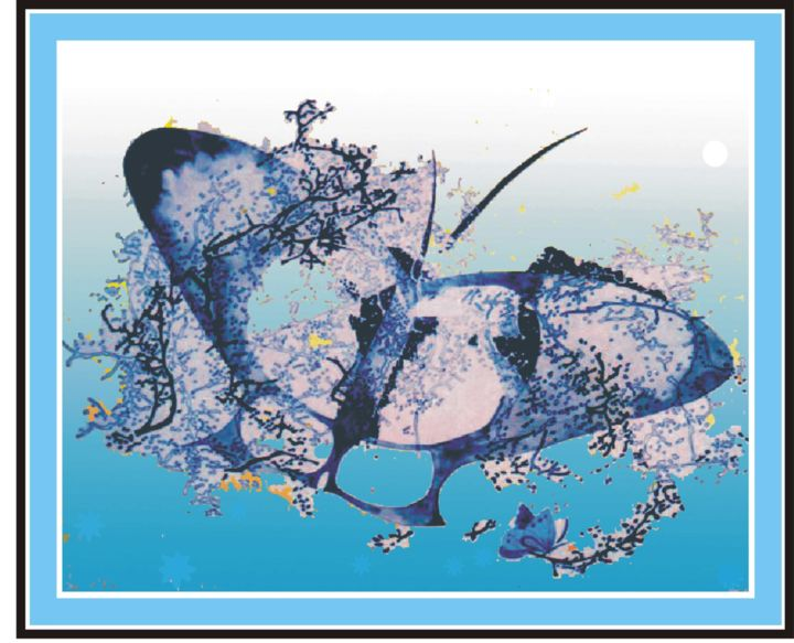 """Drawing titled """"Bluebutterfly"""" by Dolmajer Agneta, Original Art, Ink"""